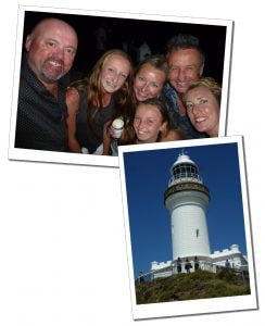 SueWhereWhyWhat far right and family at Byron Bay, Australia