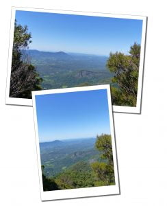 Views when hiking from the summit of Mount Warning, Wollumbin National Park, Australia