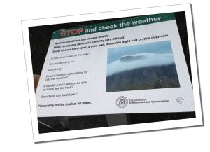 A department of the environment sign at Bluff Knoll, Stirling Range National Park, Australia