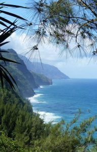 From the cliffs overlooking the sea Kalalau Trail