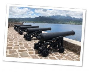 Canons pointing out to sea at Cabrits, fort Shirley, Dominica, Caribbean