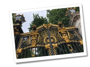 The gilded gates at the entrance to Hyde Park, London