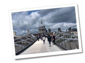 The Millennium bridge with the River Thames and St.Pauls Cathedral, London.