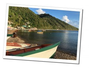 Boats on the sea shore Soufriere, Dominica, Caribbean