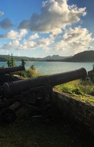 Rusty canons pointing out to sea, Fort James, Antigua