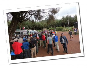 Crowds at the Weigh in, Mount Kilimanjaro day 1 Londorosi Gate