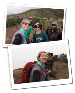 SWWW, Brigitte and guides, hiking and resting, Day 2, Mount Kilimanjaro