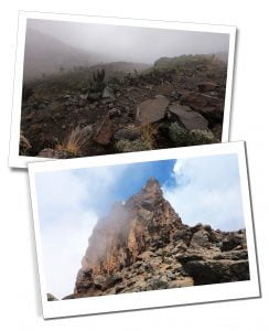 The mist and rocky terrain at Lava Tower