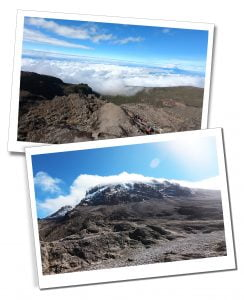 Baranco Wall, with the clouds nestling below - What To Expect When Climbing Mount Kilimanjaro