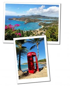 Shirley Heights and A red British telephone box on a beach Antigua