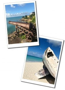 Rusty Canon on cliff and Washed up boat, Antigua