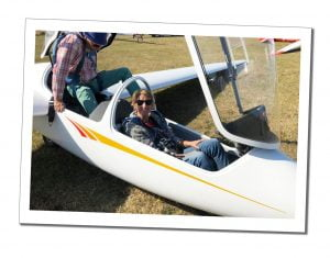 SWWW and instructor about to take off in a glider, Dunstable, UK