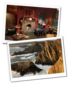 SWWW drinking Murphys in a pub and waves crashing on rocks on the Ring of Kerry, Ireland