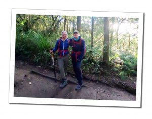 Brigit and SWWW during the hike to Mweka Camp on the decent, Kilimanjaro