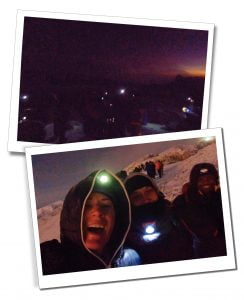 SWWW, Brigit and Zaff celebrate in torch light, summit, Kilimanjaro - What To Expect When Climbing Mount Kilimanjaro