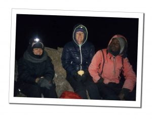 Brigit, SWWW and Zaff the guide in hoods huddled near summit, Kilimanjaro
