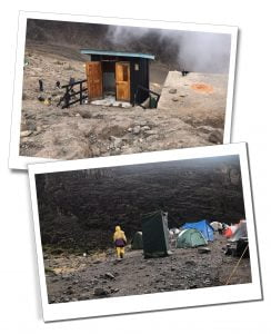 Toilets hired for the climb of Mount Kilimanjaro