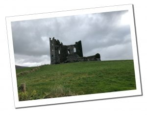 The ruins of Ballycarbery Castle, Ring of Kerry, Ireland