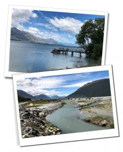 Views of the river, jetty and mountains at Kinloch, New Zealand