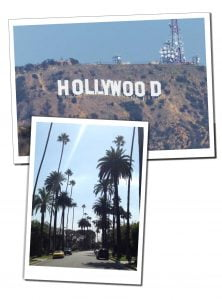 Short Travel Stories from the air - Hollywood sign and LA street, USA