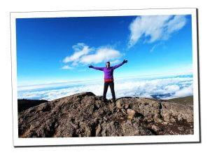 Sue at the top of the Baranco Wall, Mount Kilimanjaro, Africa