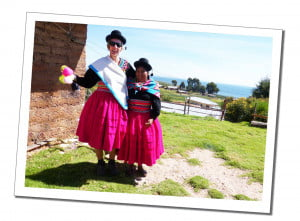 Sue and a local lady in traditional costume An Amazing 2 Day Homestay in Lake Titicaca