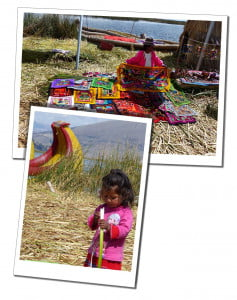 Villagers in traditional costume on a reed island Amazing 2 Day Homestay in Lake Titicaca