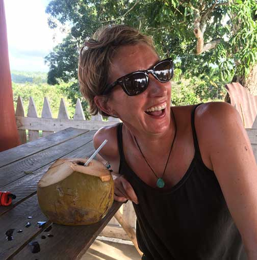 Sue in Cuba with a Coconut cocktail